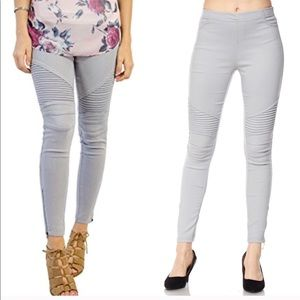 Pants - Grey elastic waist moto jeggings L/XL